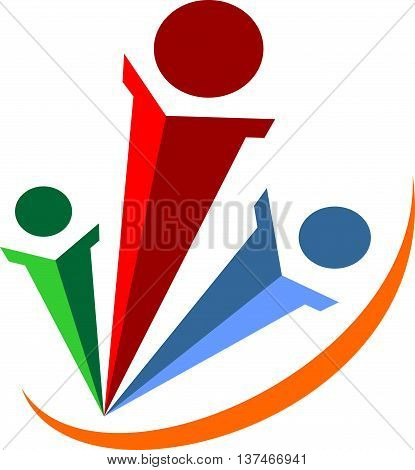 stock logo abstract team work business rise up