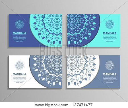 Ornamental template for business card flyer or banner with round mandala. Vector ornamental mandala. Stylish geometric pattern in oriental style. Arabic indian pakistan asian motif.