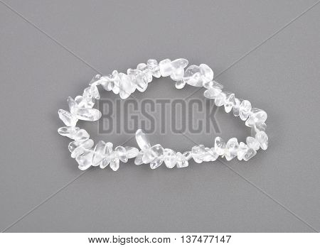 Splintered Rock Crystal Chain On Gray Background