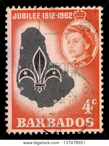 BARBADOS - CIRCA 1962: A stamp printed in Barbados shows emblem and map of Barbados and portrait of Queen Elizabeth II, circa 1962