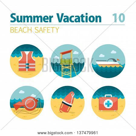 Lifeguard beach safety vector icon set. Summer time. Vacation, eps 10