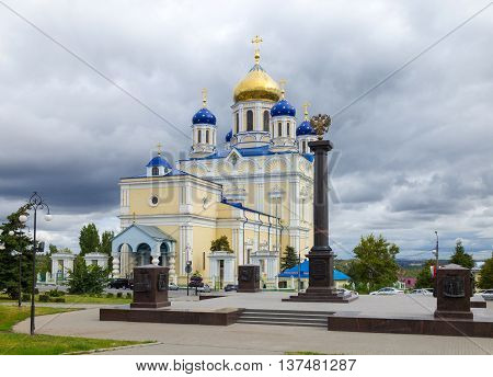 Voznesensky (Ascension) Cathedral - the main Orthodox church in the city of Yelets. Years of construction 1845-1889. Architect K. Ton. Located on the Red Square in the center of Elets. The memorial sign