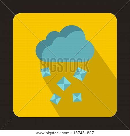 Cloud and hail icon in flat style on a yellow background