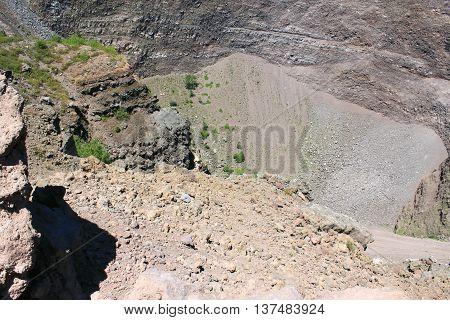 Vesuvius volcano crater. Italy, Naples, near Pompeii.