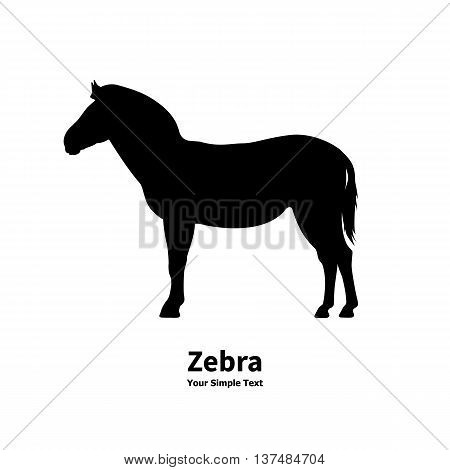 Vector illustration silhouette of zebra isolated on white background. Zebra side view profile.