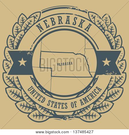 Grunge rubber stamp with name and map of Nebraska, USA, vector illustration