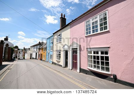 Row of beautiful colorful townhouses in Exeter, Devon
