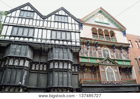 Old architecture in High Street Exeter, Devon