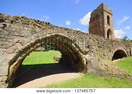 Remains of the medieval Exe Bridge and and St Edmunds Tower in Exeter built around 1200