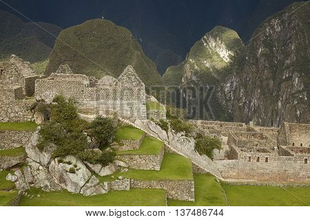 Lost Incan City of Machu Picchu near Cusco in Peru. Peruvian Historical Sanctuary and UNESCO World Heritage Site Since 1983. One of the New Seven Wonders of the World
