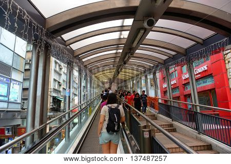 HONG KONG - NOV 9: Central Mid-Levels Escalator at Cochrane Road on Nov 9, 2015 in Hong Kong. Central Mid-Levels Escalator is the longest outdoor covered escalator system in the world.
