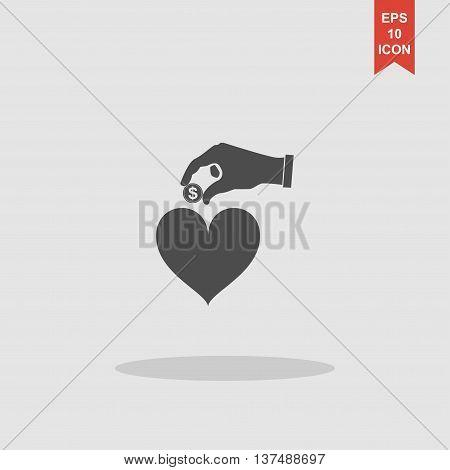 Give Alms, Web Icon. Vector Design