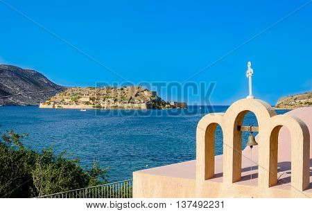 A church in Plaka in front of Spinalonga, the lepers island.