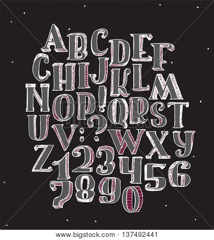 Large collection with handdrawn alphabet with letters sequence from A to Z and numbers sequence from 0 to 9. Vector illustration isolated good for creative lettering hand drawn with brush in 3d.