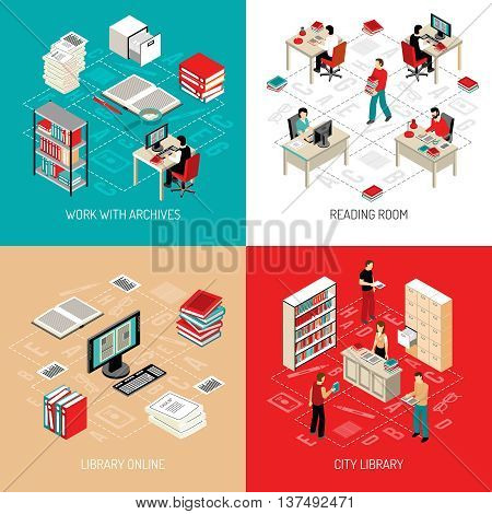 City library reading room with online archive and catalog access 4 isometric icons square abstract vector illustration