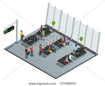 Airport departure lounge isometric view poster with passengers sitting and waiting before boarding plane vector illustration