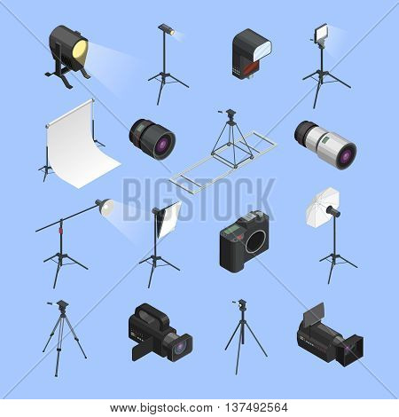 Professional photo studio equipment isometric icons set with camera portrait lens and lighting realistic isolated vector illustration