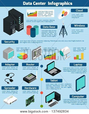 Data center infographics presenting statistics and information about different devices data base cloud service and wireless technology on blue background isometric vector illustration