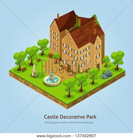 Isometric castle with decorative park landscape design concept vector illustration