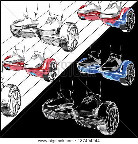 Vector illustration of set Hoverboard, Two-wheeled motorized personal vehicle consisting of a platform for the feet with foots hand drawn and colorful on black or white backgrounds. Isolated objects for design