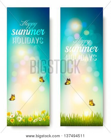 Happy summer holidays banners with flowers, grass and butterflies. Vector.