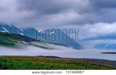 Landscape of Polar Ural mountains  in Russia