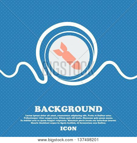 Missile,rocket Weapon  Sign Icon. Blue And White Abstract Background Flecked With Space For Text And