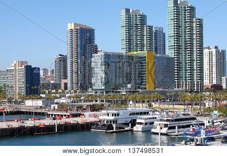 Downtown and harbor view of San Diego, California. Picture taken on July 2, 2016. San Diego is a city on the Pacific coast of California known for its beaches, parks and warm climate.