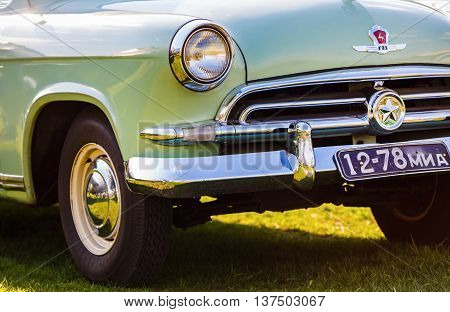 MINSK BELARUS - MAY 07 2016: Close-up photo of the Volga M-21 1958 model year. First industrial series of Soviet car of the middle class produced at the Gorky Automobile Plant from 1957 to 1958.