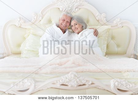 Portrait of a happy senior couple in bed