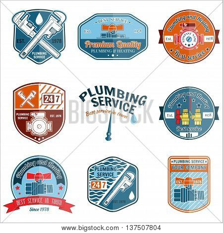 Set Of Retro Vintage Badges And Labels. Plumbing And Heating Service. Emergency Service Logo. Vector