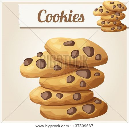 Choc chip cookies 2. Detailed vector icon. Series of food and drink and ingredients for cooking.