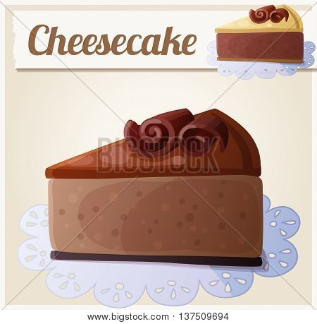 Chocolate cheesecake. Detailed Vector Icon. Series of food and drink and ingredients for cooking.
