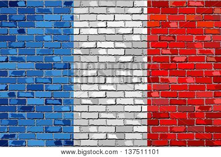 Flag of France on a brick wall - Illustration,  French flag on brick textured background,  Flag of France in brick style,  Abstract grunge flag of France