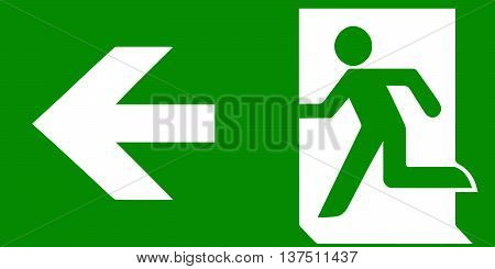 Vector fire emergency icons. Signs of evacuations. Fire emergency exit in green.