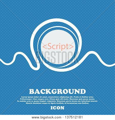 Script Sign Icon. Javascript Code Symbol. Blue And White Abstract Background Flecked With Space For