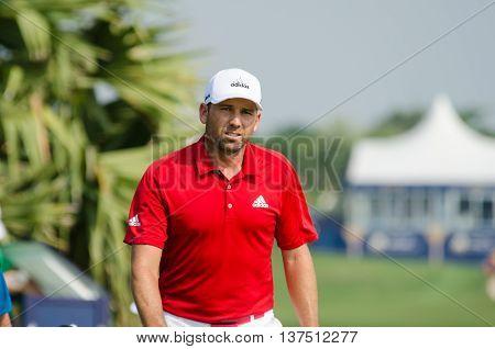 CHONBURI - DECEMBER 10 : Sergio Garcia of Spain player in Thailand Golf Championship 2015 at Amata Spring Country Club on December 10 2015 in Chonburi Thailand.