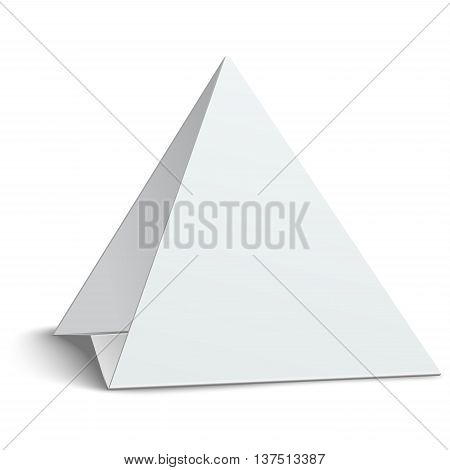 Three-cornered triangular blank paper table card isolated on white