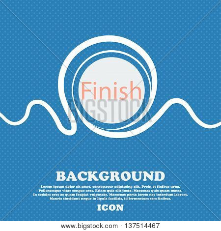 Finish Sign Icon. Power Button. Blue And White Abstract Background Flecked With Space For Text And Y