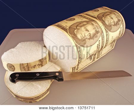 Some slices of bread from a twenty dollar bill loaf