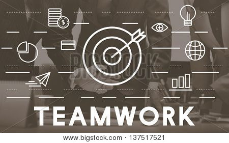 Bull's Eye Goal Mission Icon Teamwork Concept