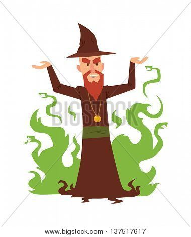 Magicians and wizards illusion show old man character vector.