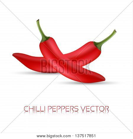 Whole red chili peppers realistic illustration of a chilli pappers icon chilli image vector illustration