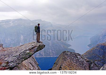 Landscape in Norvegian mountains. Trolltunga cliffs in Norway.