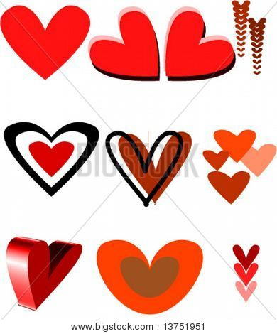 Vector hearts. You can change color and size as you wish.