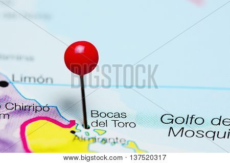 Bocas del Toro pinned on a map of Panama