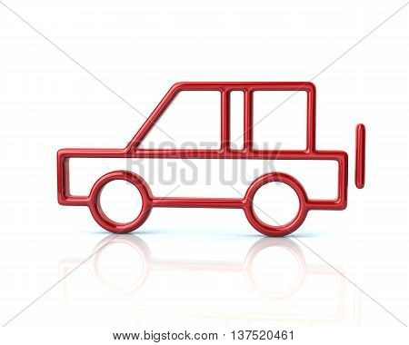 3D Illustration Of Red Suv Car Icon