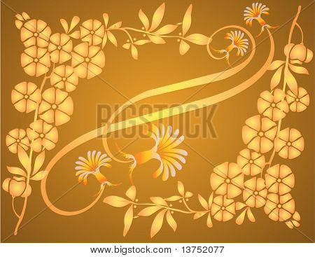 Floral element with yellow background. Illustrator file is also available in my portfolio