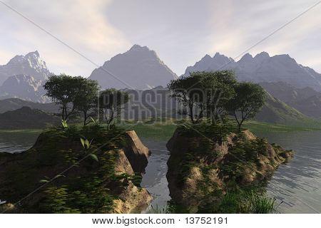 Twin islands in the dusk setting