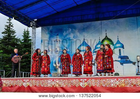 VELIKY NOVGOROD RUSSIA - JUNE 11 2016. Open Air City Day - performance of Buranovskiye Babushki Russian Udmurtian ethno-pop band that represented Russia at the Eurovision Song Contest 2012